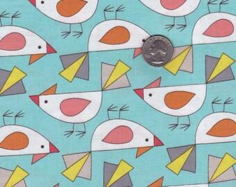 Fat quarter - Tweet in Aqua - Birds of a Feather from Mark Hordyszinski - Michael Miller cotton quilt fabric
