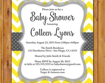 Yellow Grey Baby Shower Invitation Chevron Polka Dots Gender Neutral Printable Shower Birthday Baby Invite Digital JPG 5x7 (460)