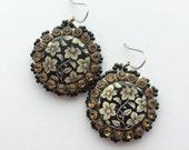 Sparkly Brown Flower Earrings