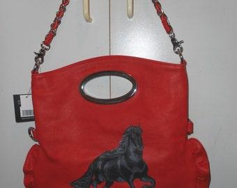 Mustang Black Horse Hand Painted Handbag Totebag OOAK Purse