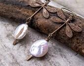 Damselflies and Pearls - Dragonflies | Blister Pearls | Freshwater Pearls | Nature | Earthy | Organic | Woodland Wedding | Earrings Under 20
