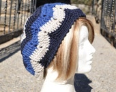 Blue Chevron Ripple Crochet Hat for Women - Lightweight Beret - Women's Hat - Blue Hat