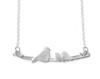 Original Bird on a Branch Mother's Necklace with 2 Baby Birds - Nestling Necklace - Bright White Finish