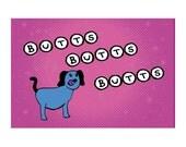 Postcard: Butts Butts Butts - Hilarious Card, Weird Postcards, Art Postcards, Postcrossing, Boyfriend Card, Girlfriend Card