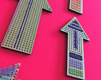 SALE Arrows to Stitch: A D.I.Y Kit for Winners, Make Your Own Arrow Wall Art, Arrow Wall Decor, Embroidery on Wood, Cross Stitch on Wood