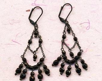 Antique black jet dangling earrings, vintage earrings, jet black, black, dangling earrings, vintage, black beads, jet, earrings, 1940