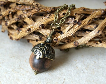 Acorn Necklace - Wood Acorn Necklace - rustic acorn necklace - Antiqued Brass Acorn Cap - Woodland Necklace - Woodland Wedding