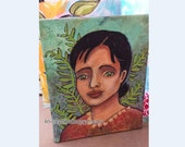 Mixed Media painting   Flower Lady Leaves Acrylics Original Art