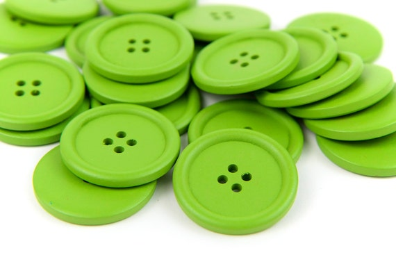 10 Large Green Wood Buttons 4cm 40mm 1.625 inches - 4 holes Big Jumbo