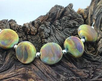 Earth - Handmade Lampwork Glass Coin Beads - SRA Elasia - MTO