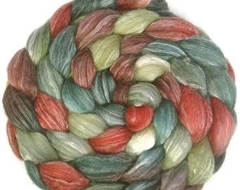 Handpainted Merino Bamboo Silk Wool Roving - 4 oz. HOLLY BERRY - Spinning Fiber