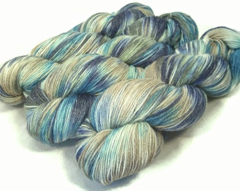 Handpainted Fingering Yarn -  Bamboo Bliss - 100 gm BLUE EYES -  Merino Wool Bamboo Nylon Sock Yarn - Lot #160111