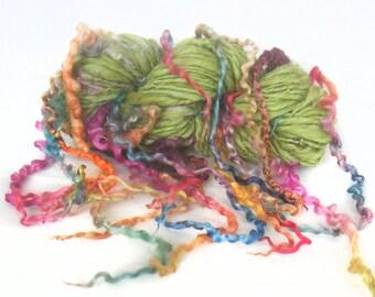 Handspun Art Yar, hand spun handdyed Wensleydale locks & Merino wool