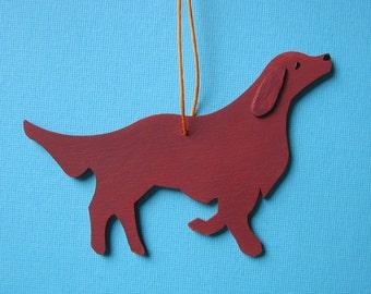 Irish Setter - Red Retriever Dog - Handpainted Wood Ornament Decoration