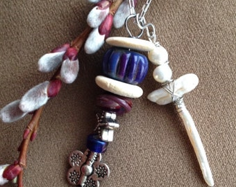 wire wrapped pearl cross with lampwork bead accent necklace pendant jewelry