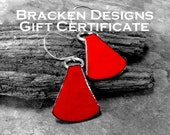 Gift Certificate for Bracken Designs Studio Art Jewelry Designed and Handmade in California