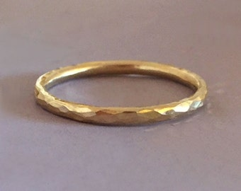 14k Yellow or Rose Gold Stacking Ring - Hand Hammered - 1.6 mm