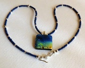 Necklace with Blue Sapphires, Fused Glass Dichroic Pendant and Sterling Silver, Statteam