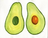 Avocados watercolor, 8 x10 Original  Painting,  kitchen art