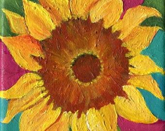 Sunflower painting, sunflower decor, sunflower canvas 4 x 4 sunflower acrylic painting canvas art, sunflower wall art, sunflower art