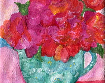 Acrylic painting canvas art - roses in blue and white teapot painting  4 x 4, original acrylic on canvas, flowers artwork