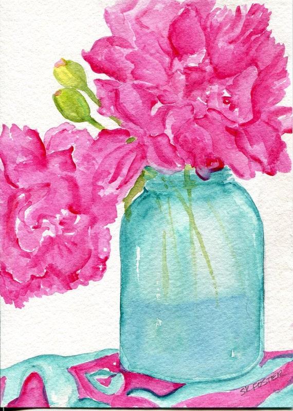 Pretty Pink  Peonies in Aqua Canning Jar  Original Watercolor Painting, Flowers painting, Floral Wall Art - watercolors paintings original