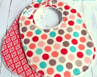 Baby Bibs for Baby Girl  - Set of 2 Triple Layer Chenille  -   Aqua, Coral, Red & Cream Vintage Dots and Floral Lattice
