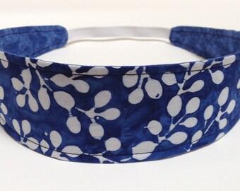 Adult Headband, Womens Headband, Reversible Fabric Headband,  Headband for Women - Blue & White Batik Print  - CALYPSO BLUE