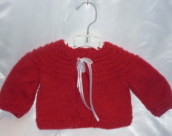 Sweet Acrylic Hand Knit Newborn to 4 Month Baby Sweater in Dark Pink