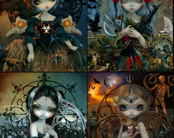 Unseelie Court: Pestilence, War, Death, and Famine - set of FOUR BIG art prints 12x16 by Jasmine Becket-Griffith SIGNED dark fairy