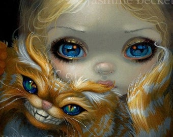 Faces of Faery 232 alice in wonderland cheshire cat big eye fairy face art print by Jasmine Becket-Griffith 6x6