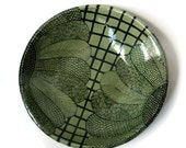 Green and Black Serving Bowl with Doodle Design