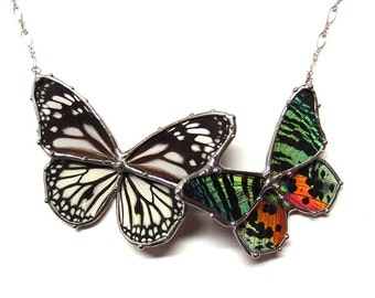 Insect Jewelry, Real Butterfly Statement Necklace - Black and White Tiger Butterfly and Sunset Moth - perfect for a Woodland Garden Wedding
