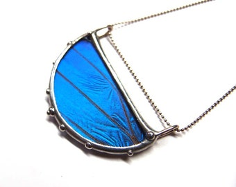 Half Moon Blue Morpho Butterfly Necklace - Real Butterfly Jewelry