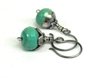 Chrysoprase, Bali Sterling Silver Earrings