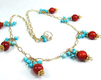 Coral, Sleepng Beauty Turquoise, Vermeil, Gold Fill Necklace