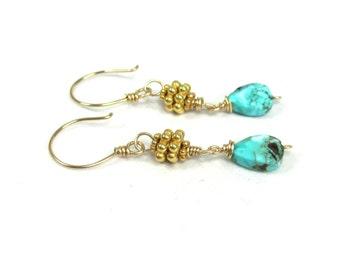 Turquoise, Vermeil, Gold Fill Earrings