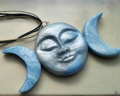 Triple Moon Ornament Pendant Large Polymer Clay Spiritual God Goddess