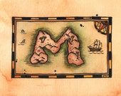 """READY-TO-SHIP Letter M Treasure Map / 5"""" x 7"""" Original Watercolor Pirate Map of Initial-Shaped Island / Alphabet Letter M / Initial Letter M"""