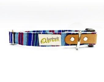 Guatemalan Stripe. Handmade Green Hemp Dog Collar. Adjustable. Small Medium Large.