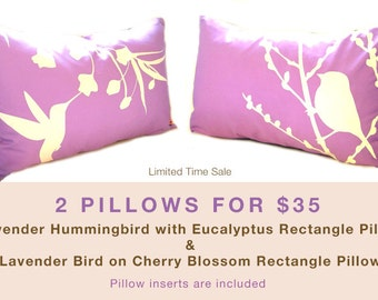 Limited Time Sale 2 Lavender Purple Bird Pillows for 35 US Dollars