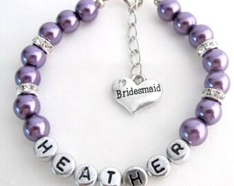 Personalized Bridesmaid Purple Pearl Bracelet Flower Girl Personalize Bracelet Wedding Gift Mother Of Bride