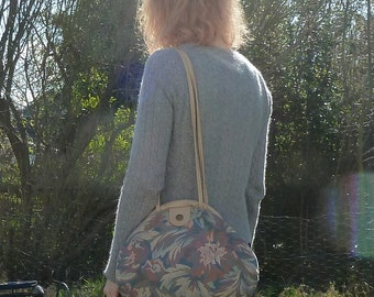 80s Oversized FLORAL TAPESTRY Shoulder Bag Purse