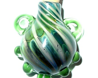 Glass Stash bottle focal pendant - Green Daze