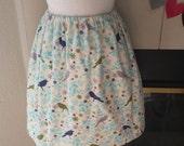 soft white birds & branches flannel elastic waist skirt
