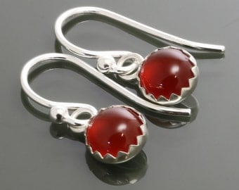 Carnelian Earrings. Sterling Silver. Genuine Carnelian. July Birthstone. 6mm Round. Bezel Setting. Drop Earrings. s15e062
