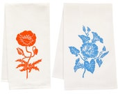 Flower organic tea towel set