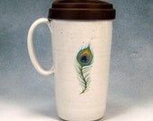 16 - 18 Ounce Ceramic Travel Mug With Lid / Ceramic Coffee Cup Pottery Travel Coffee Mug Peacock Feather Hand Thrown Stoneware Pottery