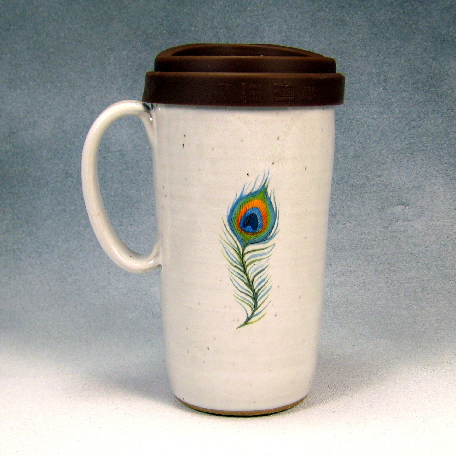 16 18 Ounce Ceramic Travel Mug With Lid By Phenixpottery
