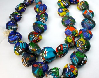 Colorful Indian Millefiori Heart Shaped Beads OLD 20-24mm  (5 beads)